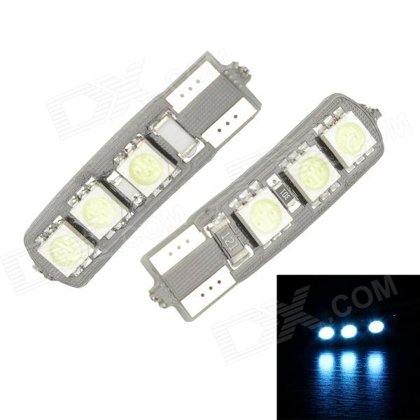 Merdia T10 3.5W 60lm 470nm 6-SMD 5050 LED Blue Canbus Decoded Car License Plate Light - (Pair / 12V) 2x canbus 3528smd led license plate light number plate lamp car light bulbs for opel vectra c estate 2002 2008 car light source