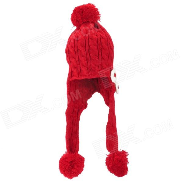 Kid's Cute Flower Decorated Knitted Woolen Yarn Warm Hat Cap - Red + White