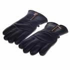 Zipper Head Layer Sheepskin Warm Full Finger Motorcycle Racing Gloves - Black (Pair / Free Size)
