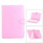 "USB 83-Key USB Wired Keyboard w/ PU Leather Case for 9"" Tablet PC - Pink (Cable 30cm)"