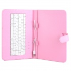 "USB 83-Key USB Wired Keyboard com capa de couro PU para 9 ""Tablet PC-Pink (Cabo 30cm)"
