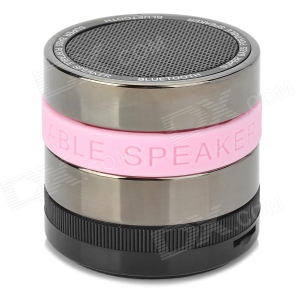 B.M Portable Super Bass Bluetooth v2.1 + EDR Speaker w/ Microphone / FM - Black + Silver + Pink bluetooth v4 0 super bass portable speaker w tf fm microphone black red