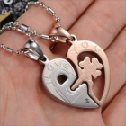 Fashionable Connected Heart Pendant Puzzles Couple Necklace - Silver + Golden (2 PCS)