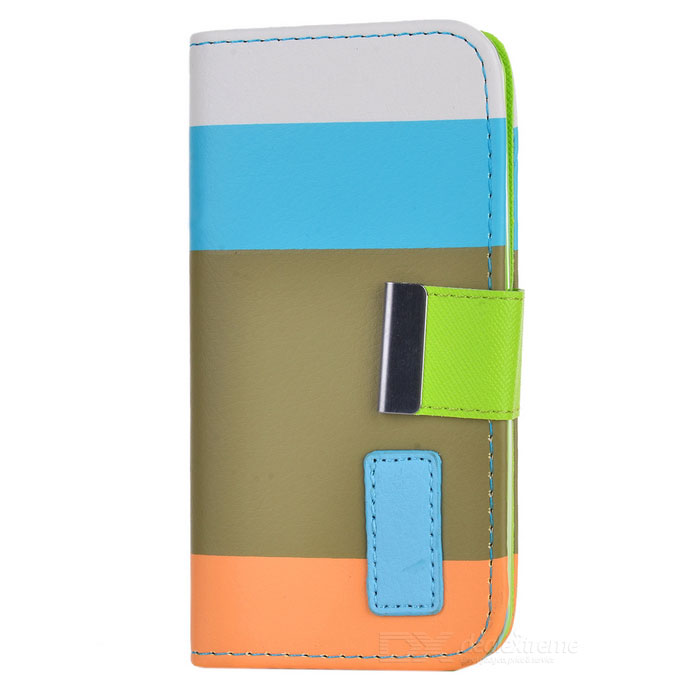 ZC001 Fashionable Joint Color PU + Plastic Case w/ Card Slot + Holder for Iphone 5C - Multicolored wallet style protective pu leather case w card holder slots hand strap for iphone 5 orange