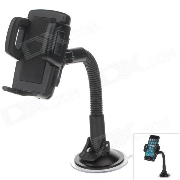 H05 360 Degree Rotation Four Ports Suction Cup Holder w/ C47 4.3/5'' Back Clip - Black h08 360 rotation 4 port suction cup holder w silicone back clip for iphone 4 4s 5 ipad mini ipod