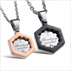 GX814 Hexagonal Pendant Titanium Steel Couple's Necklaces - Golden + Silver + Black (2 PCS)