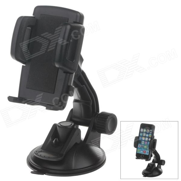 H80 360 Degree Rotation Suction Cup Holder w/ C47 4.3~5 Back Clip - Black h08 360 rotation 4 port suction cup holder w silicone back clip for iphone 4 4s 5 ipad mini ipod