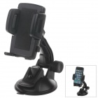 "H80 360 Degree Rotation Suction Cup Holder w/ C47 4.3~5"" Back Clip - Black"