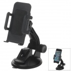 "H80 360 Degree Rotation Suction Cup Holder w/ C65 4.3~5.1"" Back Clip-Black"