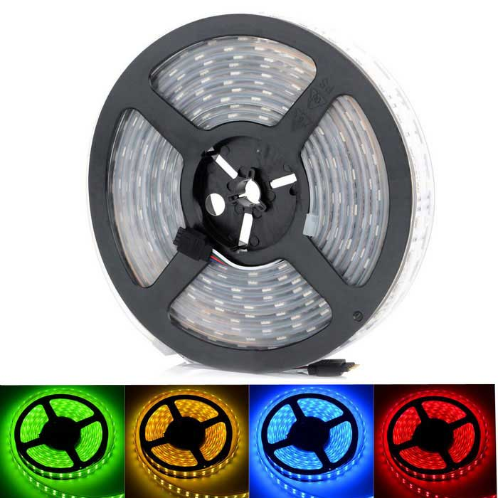HML High-quality 6200LM Waterproof Dual Row 144W 600-LED 5050 SMD RGB Light Strip (12V / 5m) hml ip67 waterproof dual row 144w 600 smd 5050 rgb light strip w mini rgb controller 12v 5m