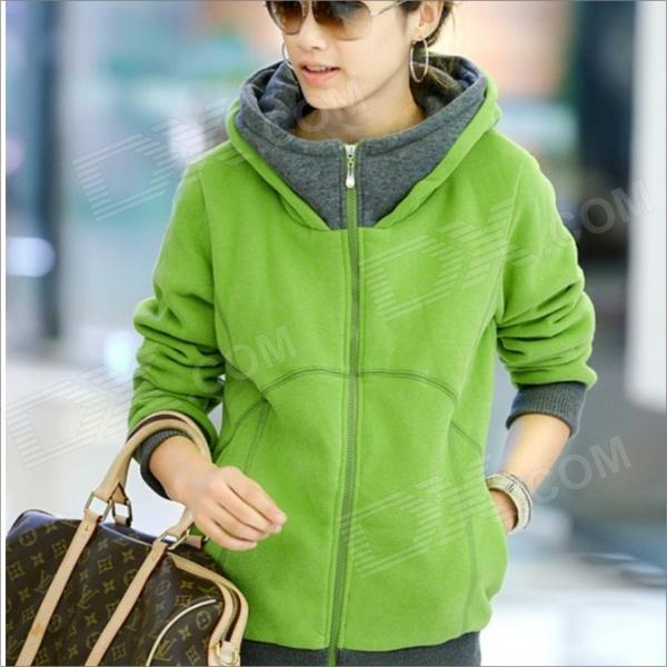 HY2416 New Winter Women's Thicken Zipper Hooded Fleece Jacket ...
