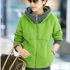 HY2416 Neue Winter-Frauen verdicken Zipper Hooded Fleece Jacket - Green (Größe XL)