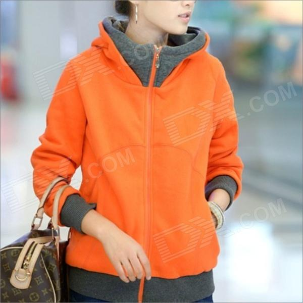 HY2416 New Winter Women's Thicken Zipper Hooded Fleece Jacket - Orange (Size-XL)