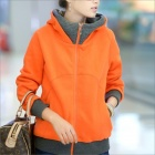 HY2416 Neue Winter-Frauen verdicken Zipper Kapuzen-Fleece-Jacke - Orange (Größe XL)
