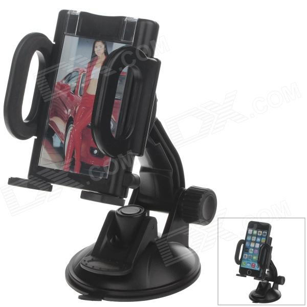 H80 360 Degree Rotation Suction Cup Holder w/ C38 4.3~5.5 Back Clip-Black h08 360 rotation 4 port suction cup holder w silicone back clip for iphone 4 4s 5 ipad mini ipod