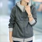 HY2416 New Winter Women's Thicken Zipper Hooded Fleece Jacket - Grey (Size-XL)
