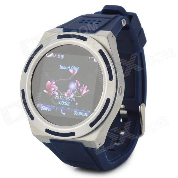KICCY A8 GSM Watch Phone w/ 1.54 Screen, Quad-Band, Bluetooth V3.0 and FM - Blue + Silver kiccy a6 gsm watch phone w 1 54 screen bluetooth quad band and bluetooth blue silver