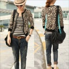HY6851 Women's Small Leopard Print Jacket - Black + Brown (Size-XL)
