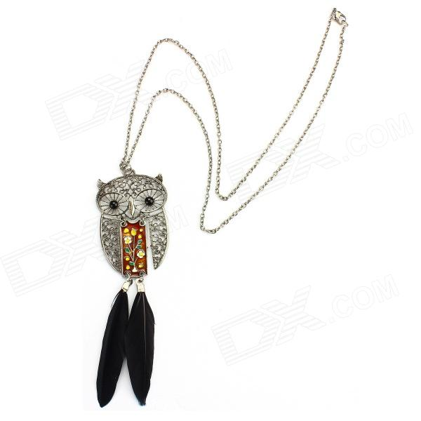 eQute SPEW13C1 Retro Fashionable Feather Owl Style Necklace - Golden + Black + Silver