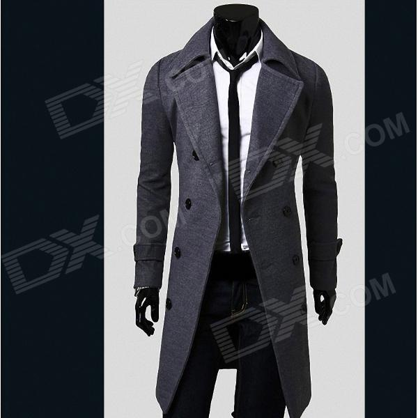 VSKA 5625 Stylish Men's Slim Fit Double-Breasted Cotton Coat - Grey (Size-L) stylish slim fit inclined zipper cardigan for men light grey size l
