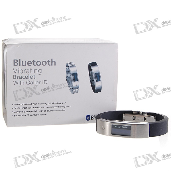 "0.9"" OLED Bluetooth Incoming Call Vibrate Alert Bracelet with Caller ID Display (Black)"