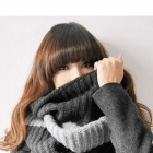 Warm Two-tone Woolen Yarn Neckerchief for Women - Deep Grey + Grey (57 x 26cm)