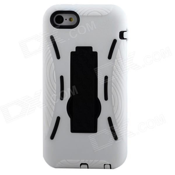 Detachable Cool Protective Silicone + Plastic Case w/ Stand for Iphone 5C - White + Black protective detachable plastic case for iphone 5 black