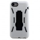 Detachable Cool Protective Silicone + Plastic Case w/ Stand for Iphone 5C - White + Black