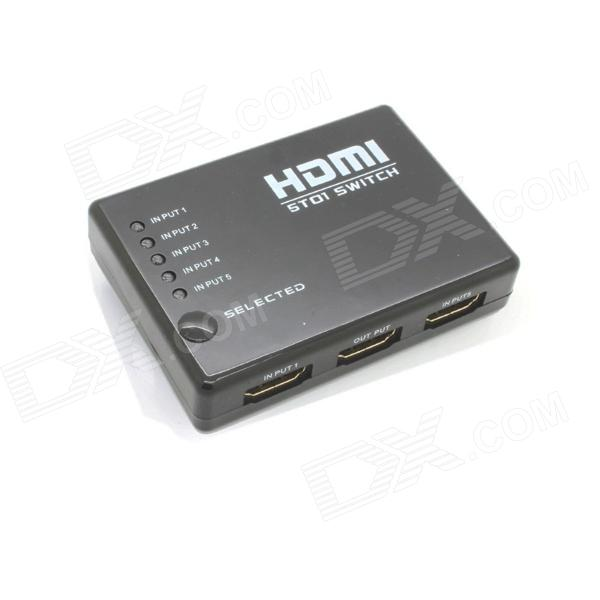 Ourspop OU51 1080p HDMI V1.4 коммутатор с / Пульт дистанционного управления - черный