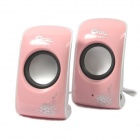 Jeway JS-5200 USB Portable Music Speaker for PC / Laptop - Pink (2 PCS)