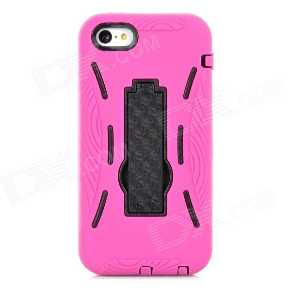 Protective Silicone + Plastic Case w/ Stand for Iphone 5C - Purple Red + Black protective plastic case w display window for iphone 5c deep pink