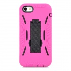Protective Silicone + Plastic Case w/ Stand for Iphone 5C - Purple Red + Black