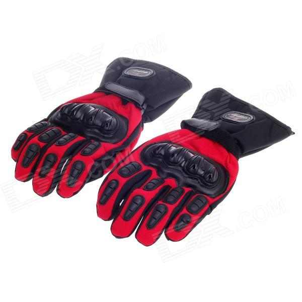 MD015#  Stylish Water-proof  Warm Full Finger Motorcycle Racing Gloves - Black+Red (Pair /L -Size) pro biker mcs 03 motorcycle racing full finger warm gloves black grey size l pair