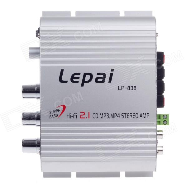 Lepai LP-838 60W Multifunction Stereo Car Audio Power Amplifier - Silver home car cd player 4 channel audio amplifier with remote control and bluetooth function good sound quality