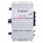 Lepai LP-A8 60W Multifunction Stereo Car Audio Power Amplifier - Silver
