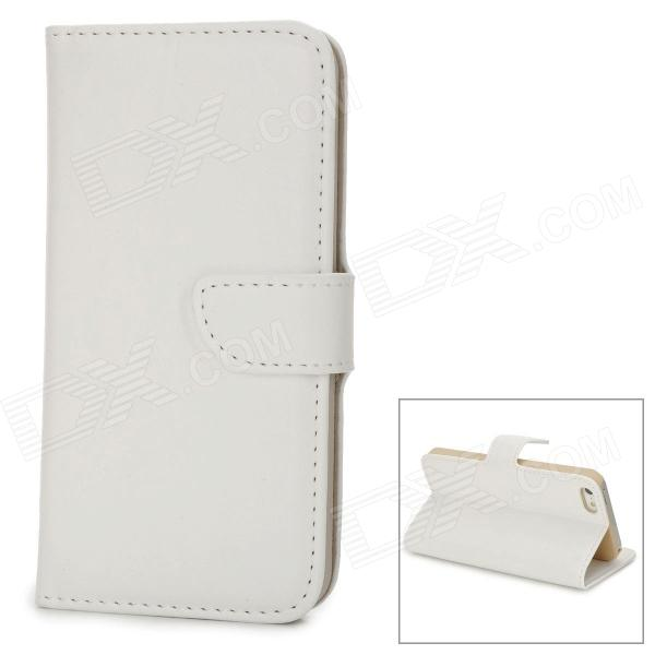 Fashionable Flip-open PU + Plastic Case w/ Card Slot + Holder for Iphone 5 - White azns fashionable flip open pu leather plastic case for iphone 5 black