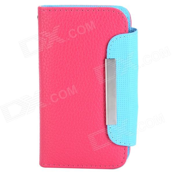 ZS004 Protective PU Leather Case w/ Card Slots / Strap for Iphone 4 / 4S - Deep Pink + Light Blue cartoon pattern matte protective abs back case for iphone 4 4s deep pink