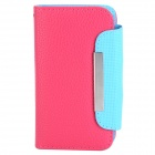 ZS004 Protective PU Leather Case w/ Card Slots / Strap for Iphone 4 / 4S - Deep Pink + Light Blue