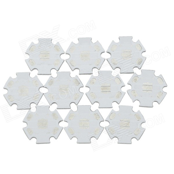 20mm Star Aluminum Base Boards for XM-L T6 / U2 / U3 - White + Silver (10 PCS)