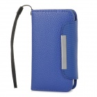 ZS004 Protective PU Leather Case w/ Hand Strap for Iphone 4 / 4S - Blue