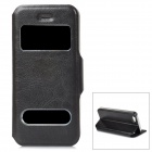 Protective PU Leather + Plastic Case w/ Dual Display Window for Iphone 5 - Black