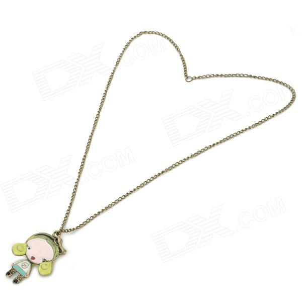 Cute Lovely Girl Style Pendant Necklace - Brass + Multicolored