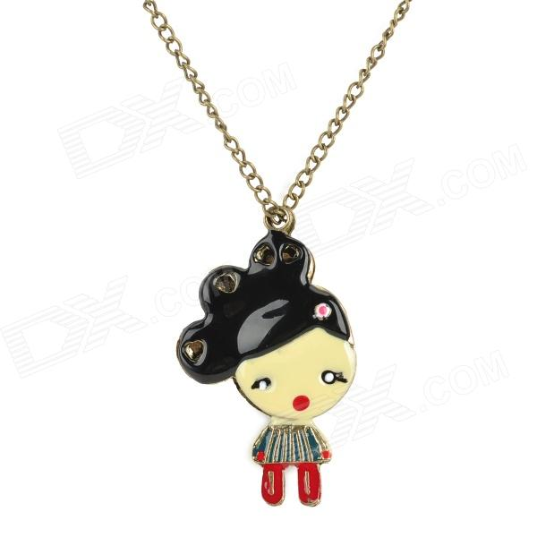 Cute Love Little Girl Style Pendant Necklace - Brass + Multicolored one piece mexican bola cage cell little girl harmony angel caller sound bell necklace
