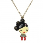 Cute Love Little Girl Style Pendant Necklace - Brass + Multicolored