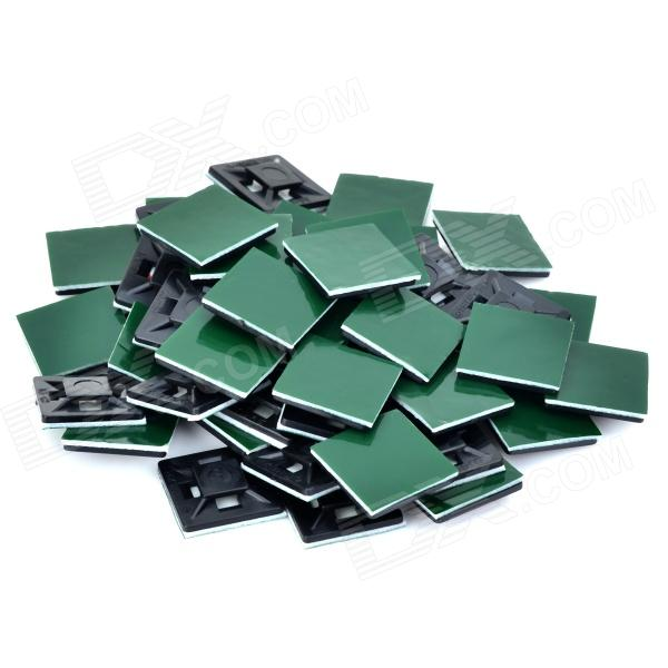 TM-20 Cable / Wire Management Mounts w/ Adhesive Tape - Black + Green (50 PCS)