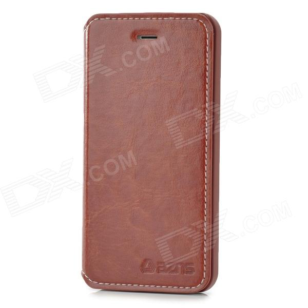 AZNS Fashionable Flip-open PU Leather + Plastic Case for Iphone 5 - Reddish Brown azns protective pu leather case for samsung i8552 red