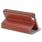 AZNS Fashionable Flip-open PU Leather + Plastic Case for Iphone 5 - Reddish Brown