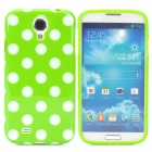 Fashionable Polka Dot Pattern Silicone Back Case for Samsung S4 i9500 - Green + White