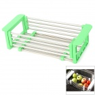 Household Foldable Stainless Steel Drain Rack - Green + Silver