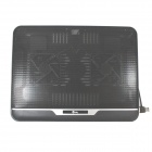 Jeway JSRQ-6024 Ultra Thin USB Cooling Pad Fan Cooler for Laptop - Black